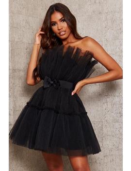 Black Organza Bandeau Skater Dress by I Saw It First