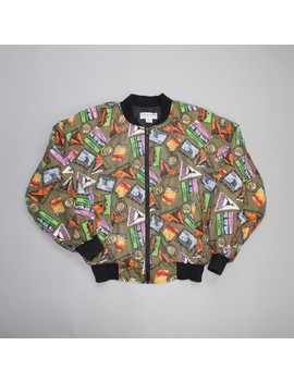 90s Postcard Print 100% Silk Bomber Jacket by Vintage  ×