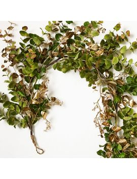 Faux Eucalyptus Garland   Green/Gold by West Elm