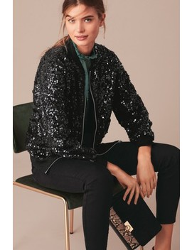 Black Sequin Bomber Jacket by Next