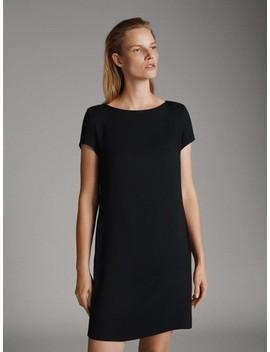 KurzÄrmeliges, Schwarzes Kleid by Massimo Dutti