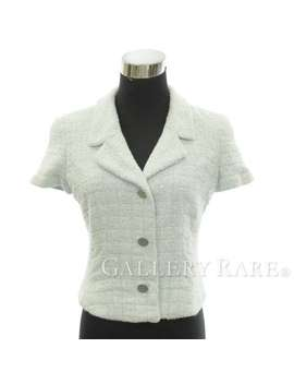 Chanel Jacket Here Mark Terry Lady's Size 40 P15546 00 T Chanel Apparel Clothes Short Sleeves by Rakuten Global Market