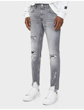 Paint Splatter Skinny Jeans by Bershka