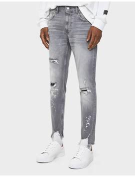 Paint Splatter Skinny Jeans by Bershka