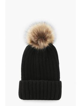 Rib Knit Beanie With Large Faux Fur Pom by Boohoo
