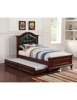 Cherub Twin Size Bed With Trundle In Black And Cherry Brown by Benzara