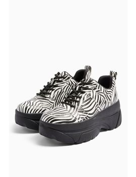 Cali Black And White Zebra Print Chunky Trainers by Topshop