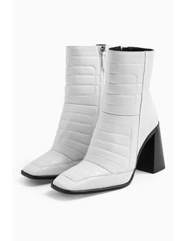 Millenial White Leather Boots by Topshop