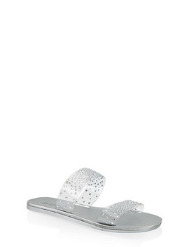 Rhinestone Studded Double Band Slide Sandals by Rainbow