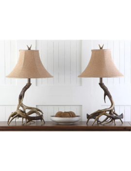 Safavieh Lighting 25 Inch Sundance Faux Antler Brown Table Lamp (Set Of 2) by Safavieh