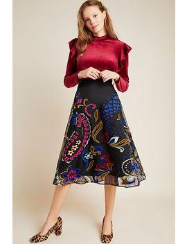 Amber Velvet Applique Midi Skirt by Anthropologie