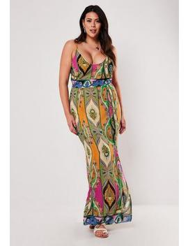 Plus Size Pink Paisley Print Strappy Maxi Dress by Missguided