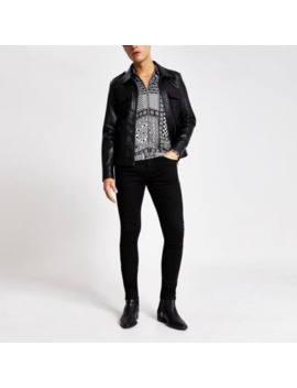 Smart Western Black Faux Leather Jacket by River Island