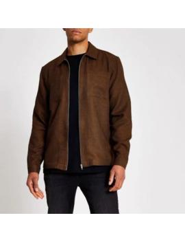 Rust Textured Zip Through Regular Fit Shirt by River Island