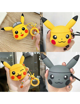 Pikachu Pokemon Silicone Protective Case For Apple Air Pods Charging Charger Case by Unbranded