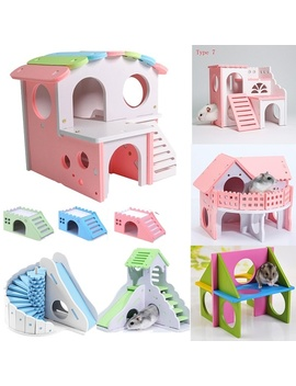 Chic Wooden Hamster Net Ecological Double Deck Ladder Villa Colorful Bed House by Wish
