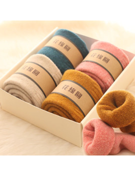 4pair Merino Brand Wool Thick Warm Socks Women Japanese Style Winter Cashmere Women Socks Tube Slippers Simple Style Crew by Ali Express.Com