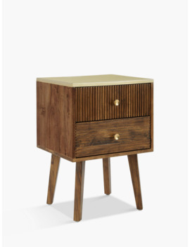 John Lewis & Partners Padma 2 Drawer Bedside Table, Brown/Brass by John Lewis & Partners