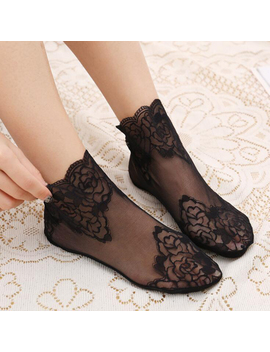 Summer Thin Black Lace Women Transparent Tulle Flower Socks Ankle Short Breathable Funny Socks Female Dress Hosiery Street by Ali Express.Com