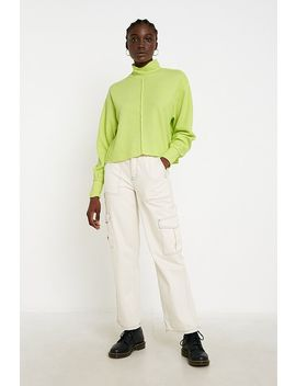 Uo Charlie Slouchy Funnel Neck Lime Jumper by Urban Outfitters