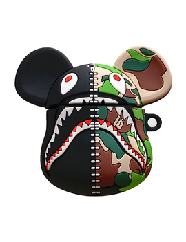 Bape Shark Bear Brick Camo A Bathing Ape 3 D Silicone Case Cover For Apple Airpods by Unbranded