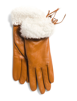 Made In Italy Shearling Cuff Leather Gloves by Tj Maxx