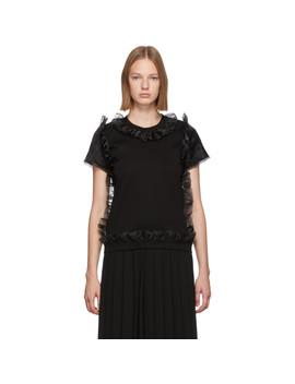 Black Tulle Ruffle T Shirt by Noir Kei Ninomiya
