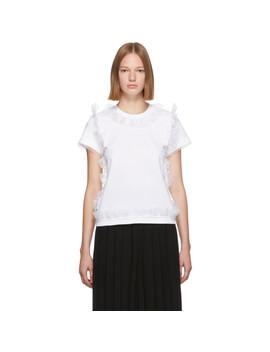 White Tulle Ruffle T Shirt by Noir Kei Ninomiya