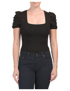 Square Neck Puff Shoulder Bodysuit by Tj Maxx
