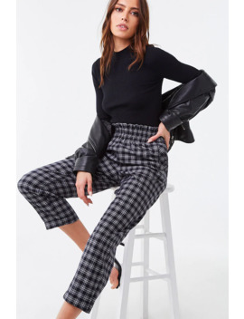 Plaid High Rise Cuffed Leg Pants by Forever 21