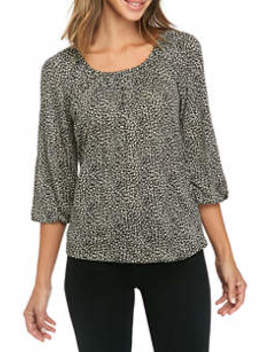 Women's Cheetah Print Knit Peasant Top by Michael Michael Kors