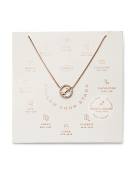 Sagittarius Pendant Rose Gold Tone Stainless Steel Necklace by Fossil