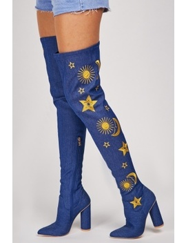 Denim Embroidered Thigh High Boots by Everything5 Pounds
