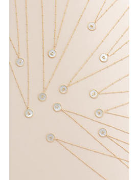 Mother Of Pearl Zodiac Coin Necklace by Anthropologie