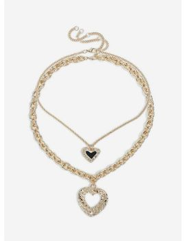 2 Pack Gold Heart Necklace by Miss Selfridge