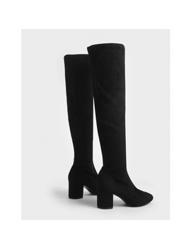 Metallic Classic Top Handle Bag  Textured Thigh High Boots by Charles & Keith