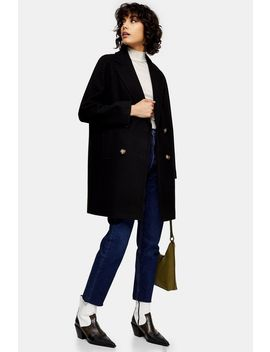 Black Raglan Coat by Topshop