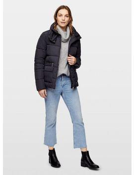 Navy Zip Puffer Coat by Miss Selfridge