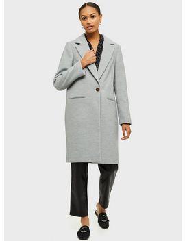 Grey Single Breasted Coat by Miss Selfridge