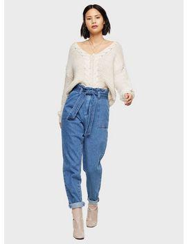 Blue Paperbag Jeans by Miss Selfridge