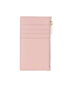 Zipped Compact Card Holder Leather Vintage Pink by Celine