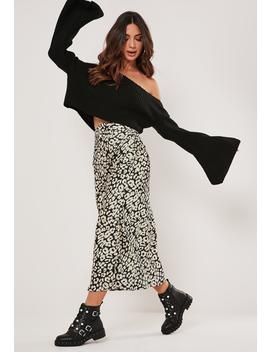 Petite Cream Leopard Print Midi Skirt by Missguided