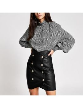 Black Faux Leather High Waist Mini Skirt by River Island