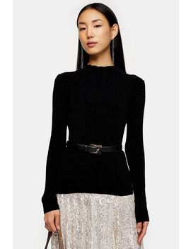 Black Chenille Knitted Top by Topshop