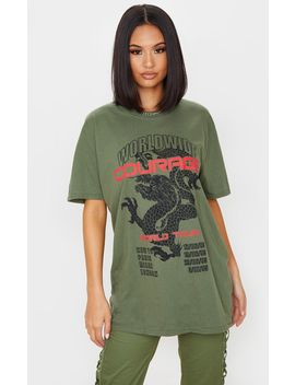 Khaki Dragon Oversized T Shirt by Prettylittlething