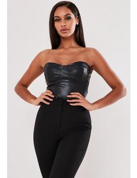 Black Faux Leather Bandeau Bodysuit by Missguided