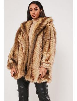 Tan Vintage Chevron Faux Fur Coat by Missguided
