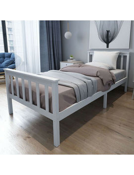 Single Bed Solid Wooden Frame In White 3ft New Year Gifts Celebration Furnitures by Ebay Seller