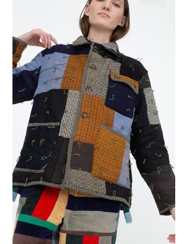 Bode Quilted Workwear Jacket   Multi Blue/Brown by Garmentory