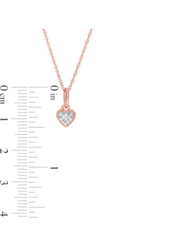 Diamond Accent Heart Vintage Style Pendant In 10 K Rose Gold by Online Exclusive